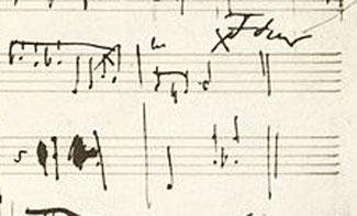 Фрагмент рукописи Шопена