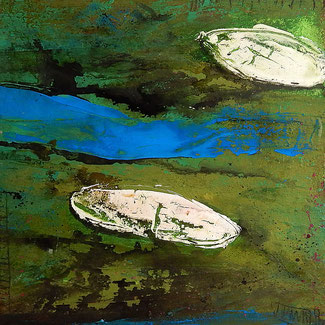 grünes abstraktes bild mit booten