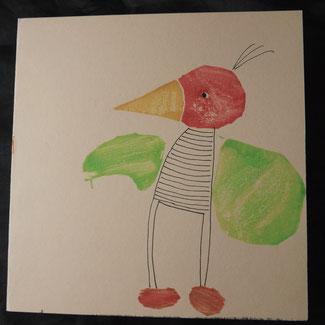 Stempel und Fineliner-Zeichnung