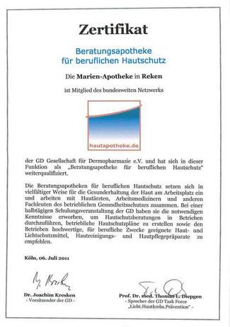 Individuelle Hautschutz-Konzepte zur Erhaltung der Hautgesundheit |Zertifikat Marien-Apotheke Reken