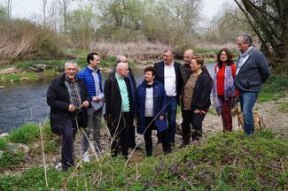 Mit der Vizepräsidentin der SGD-Nord, Nicole Morsblech (3. von rechts) diskutierten die Liberalen über die Möglichkeiten, die Ahr durch ein Beweidungsprojekt und durch Naturstege aufzuwerten
