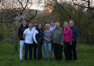 V.r.n.l. Egon und Linda Stadtfeld, Kurt Bongard, Patrick von Scheid, Daniela Thiesen, Ulrike Nett, Dirk Nett, Florian Hideg, Andreas Marquart