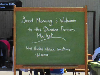 Barossa Farmer's Market welcome sign