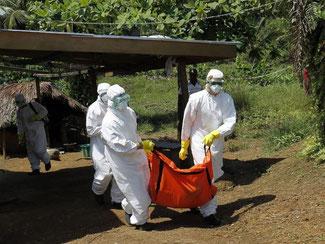 Bergung eines Ebola-Opfers in Liberia. Foto: Ahmed Jallanzo