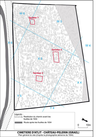 Plan général du site avec l'implantation des secteurs explorés en 2015 © M. Vivas, Y. Gleize