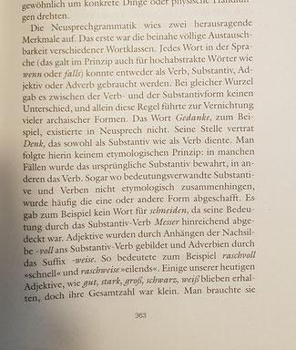 Erläuterungen zum Neusprech im Anhang des Romans.