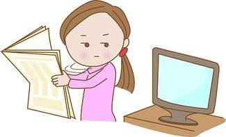 紙と電子媒体のイラスト