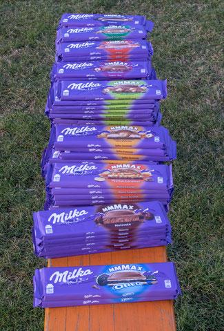 statt der langweiligen Medaillen gibts beim WLV-Crosscup viel Schokolade!