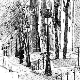Eine Frau in einem Mantel mit Kapuze über dem Kopf und den Händen in den Taschen geht eine lange Treppe hinunter. Auf der Treppe sind Straßenlaternen und rechts davon stehen Häuser.