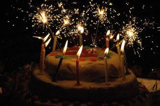 Blog Kuchenbild mit Kerzen, wir möchten Danke sagen