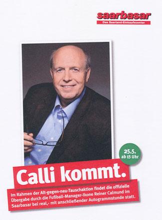 Blog Calli kommt, Flyer von Saarbasar mit Reiner Calmund