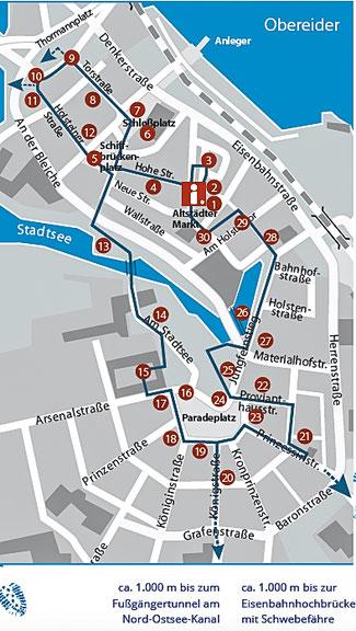 Bild: Karte der Stadt Rendsburg