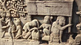 Bild: Wandrelief eines Tempels von Angkor Watt
