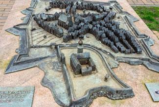 Bild: Das Bronzemodell der Stadt Rendsburg um 1640