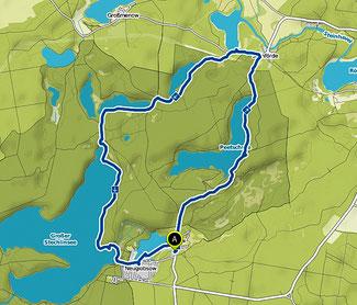 Bild: Karte mit der Wanderung um den Stechlinsee