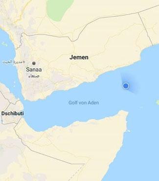Bild: Screen Shot mit dem Smartphone über unseren Standort am Rande des Suezkanals