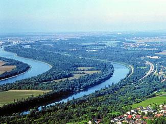 Links Frankreich. Rechts Altrhein mit Bad Bellingen.