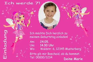Einladungskarten Kindergeburtstag Fee Elfen