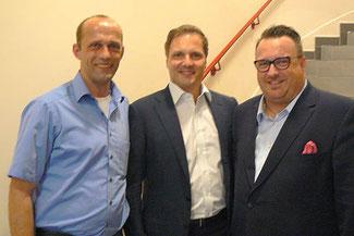 Der FDP-Bezirksvorsitzende Alexander Buda (li.) und Dr. Kai Rinklake (Mitte) erhielten Besuch von Staatssekretär Andy Becht