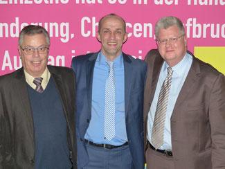 Geschäftsführender Vorstand v. l. Bernd Altmann, Alexander Buda und Dr. Tobias Kador – krankheitsbedingt fehlen Dr. Kai Rinklage und Christian Hess.