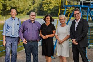 Besichtigung des Waldschwimmbads , Ende August - v.l.n.r.:  Alexander Buda, Uwe Steiniger, Daniela Schmitt, Andrea Thiel, Christof Lautwein