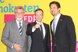 Bezirksvorsitzender Herbert Mertin, Landesvorsitzender Volker Wissing und Kreisvorsitzender David Hennchen