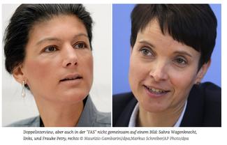 Frauke Petry und Sahra Wagenknecht geben zusammen ein Interview und entdecken überraschend viele Gemeinsamkeiten. Die AfD-Chefin bietet der Linken sogar Kooperation an.