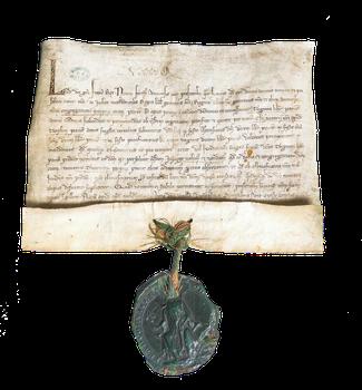 Confirmation des statuts des Quinze-Vingts Rédigé à Melun, mars 1270 Parchemin, sceau de cire verte sur lacs de soie rouge et verte H. 21 cm ; l. 28,5 cm - Conservé à Paris, hôpital des Quinze-Vingts