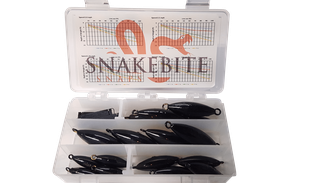 plastic case with snakebite snaps and coated weights