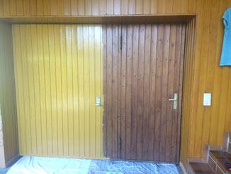 Renovierungsanstrich Garagentor mit Standölfarbe ocker