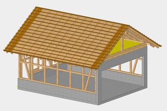 Garage mit Satteldach (CAD-Konstruktion)