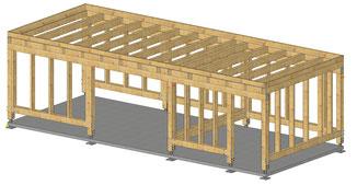 Planung Flachdach Carport mit Geräteraum.