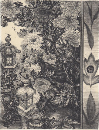 牡丹に石灯籠/銅版/雁皮刷り 20×15.5cm