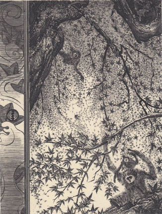 楓に猿猴/銅版/雁皮刷り 20×15.5cm