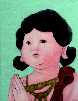 「童子」パネル・綿布・白亜地・岩絵具・墨・金泥・銀泥 180x140mm