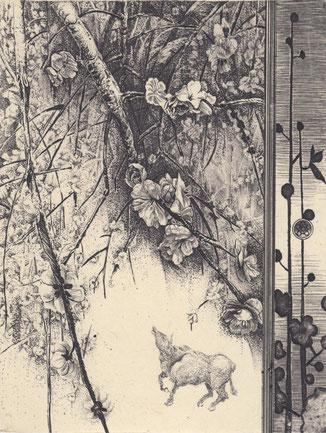 梅に牛/銅版/雁皮刷り 20×15.5cm