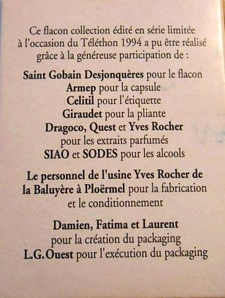 TELETHON 94 : FRUIT ROUGE - VERSO DE LA BOÎTE