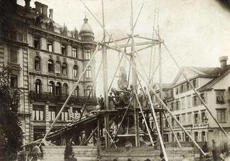 Historisches Dokument: Brunnenbau   (Foto: Kunstgiesserei  St.Gallen)