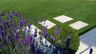 Naturstein Travertin Mauer, Treppenanlage und Trittplatten im Rasen, Bepflanzung Lavendel und Buchsbaum