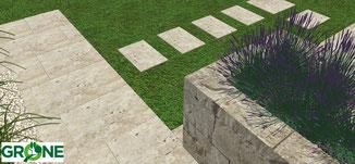 3D Planung Terrasse, Treppenanlage, Mauerelemente und Trittplatten aus Naturstein Travertin