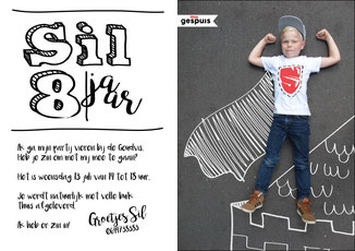 Ontwerp en fotografie 'kinderpartij uitnodiging' studiogspuis.nl