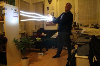 Mit einer Taschenlampe und 15 Sekunden Belichtungszeit