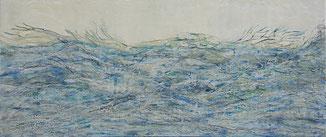 Encaustic-Bild Nr. 3.2 MDF Platte mixed media  (101x43cm)