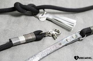 Beispiel: Leder Grau mit Glitzer Silber