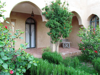 terrasse privée de la chambre d'hotes Muscade , maison d'hotes, Riad le Jardin des Epices, hôtel à Taroudant, Maroc