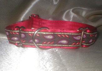 Martingale, Halsband, 2,5 cm, Gurtband rot, edle Borte