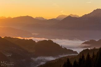 Sonnenaufgang Alpen (Klicken zum vergrößern)