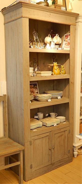 オープン ブックケース ブックケース 本棚 シャビーシック アンティーク家具 リサイクルウッド