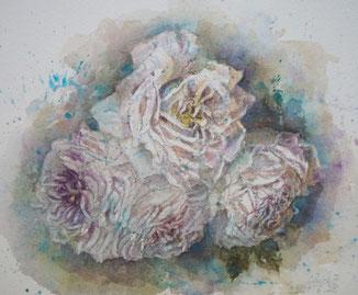 薔薇6 Faded roses(watercolor painting)