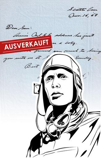 Handtasche mit Schriftstück von Charles Lindbergh